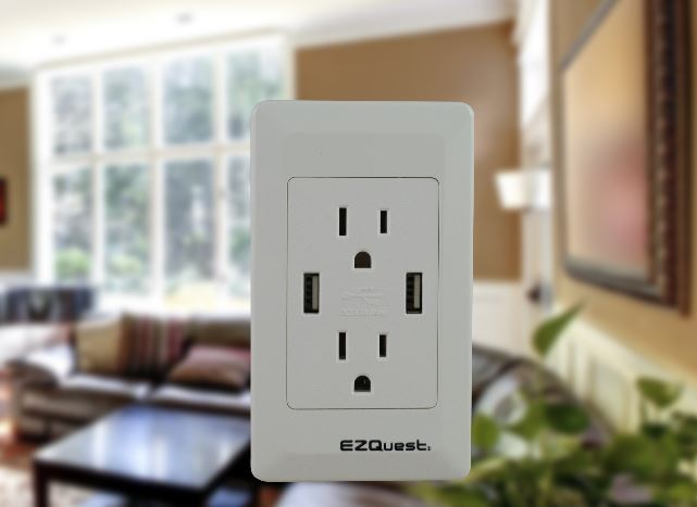 EZQuest Plug n' Charge Wall Socket USB Charger