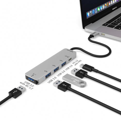 4-Port USB 3.0 Hub Adapter with USB-C PD 3.0